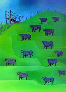 Black Cows on a Green California Hill, painting by Jacinto Rivera