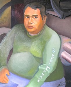 Self Portrait in a Manhole, painting by Jacinto Rivera